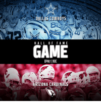 Arizona Cardinals, Dallas Cowboys, and Football: DALLAS COWBOYS  HALLOF F A ME  GAME  8PMETINBC  3  CARDINALS  ARIZONA CARDINALS 5 HOURS TO FOOTBALL!  The @dallascowboys. The @azcardinals. @ProFootballHOF Game. Tonight (8pm ET)! 📺: NBC https://t.co/BlPVzdX4bM