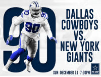 Our Dallas Cowboys are ready to take a bite out of The Big Apple tonight!  #SNFonNBC #DALvsNYG #CowboysNation http://bit.ly/2goXBuW: DALLAS  COWBOYS  NEW YORK  GIANTS  PRO SHOP  SUN DECEMBER ll 7:30PM Our Dallas Cowboys are ready to take a bite out of The Big Apple tonight!  #SNFonNBC #DALvsNYG #CowboysNation http://bit.ly/2goXBuW