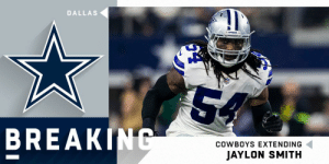 BREAKING: The @dallascowboys have reached a long-term extension with LB @thejaylonsmith. (via @RapSheet, @MikeGarafolo) https://t.co/pYS2MryYzI: DALLAS  cowno  54  BREAKING  COWBOYS EXTENDING  JAYLON SMITH BREAKING: The @dallascowboys have reached a long-term extension with LB @thejaylonsmith. (via @RapSheet, @MikeGarafolo) https://t.co/pYS2MryYzI