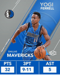 Dallas Mavericks, Memes, and Portland Trail Blazers: DALLAS  MAVERICKS  PTS  3PT  9-11  32  YOGI  FERRELL  AST Yogi Ferrell signed a 10-day contract with the Dallas Mavericks last Saturday.  Friday night, he scored a career-high 32 points in win vs Portland Trail Blazers.