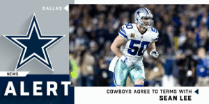 LB Sean Lee agrees to restructured contract and will remain with the @dallascowboys in 2019.  (via @RapSheet) https://t.co/6UcCCBHQXE: DALLAS  NEWS  ALERT  COWBOYS AGREE TO TERMS WITH  SEAN LEE LB Sean Lee agrees to restructured contract and will remain with the @dallascowboys in 2019.  (via @RapSheet) https://t.co/6UcCCBHQXE