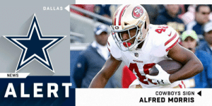 .@dallascowboys bring back RB Alfred Morris on one-year deal. @FredoSauce https://t.co/biFAubvQ65: DALLAS  NEWS  ALERT  COWBOYS SIGN  ALFRED MORRIS .@dallascowboys bring back RB Alfred Morris on one-year deal. @FredoSauce https://t.co/biFAubvQ65
