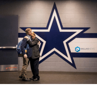 At-At, Dallas Cowboys, and Memes: DALLAS NEWS Dallas Cowboys wide receiver Cole Beasley hugs stadium security officer Sue Raagas as he leaves the locker room after a loss to the Green Bay Packers in an NFC divisional round playoff game at AT&T Stadium on Sunday, Jan. 15, 2017, in Arlington. (Smiley N. Pool-The Dallas Morning News)