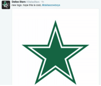 Dallas Stars, Nfl, and Roast: Dallas Stars  @Dallas Stars 1h  new logo. hope this is cool, @dallascowboys LOL everybody is roasting the Chargers' new logo