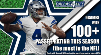 Dak Prescott with some pretty impressive numbers this season. 😳: DALLASE LIFE  GAMES  WITH  100+  PASSERMATING THIS SEASON  (the most in the NFL)  Tiedwith Russell Wilson forthe most byarookie since 1950 Dak Prescott with some pretty impressive numbers this season. 😳