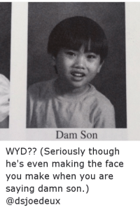 Damn Son: Dam Son  WYD?? (Seriously though  he's even making the face  you make when you are  saying damn son.  @dsjoedeux