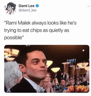 "Quiet crunches  By minor0304 | TW and dami_lee | TW (translation): Dami Lee  @dami_lee  Rami Malek always looks like he's  trying to eat chips as quietly as  possible"" Quiet crunches  By minor0304 