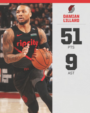 Damian Lillard went OFF for his fifth career 50-point game in the last four seasons 🔥  Only James Harden has more over that stretch (13).: DAMIAN  LILLARD  51  9  PGA  BVOFR  ripcit  PTS  AST Damian Lillard went OFF for his fifth career 50-point game in the last four seasons 🔥  Only James Harden has more over that stretch (13).