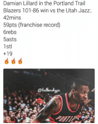 🏀Scored 26pts in the first quarters! (📷: @ballershype)🔥DOUBLE TAP & TAG a friend.🏀 nba nba2k17 nbaplayoffs nbamemes ➡Everyone ADD us on Snapchat 👻 - ballershype ➡TURN ON POST NOTIFICATIONS ➡ FOLLOW my other account @ballershype for NBA news, rumours, videos! ➡ FOLLOW us on Twitter (Link in bio!): Damian Lillard in the Portland Trail  Blazers 101-86 win vs the Utah Jazz  42mins  59pts (franchise record)  6rebs  5asts  1 stl  +19  @Balberskype. 🏀Scored 26pts in the first quarters! (📷: @ballershype)🔥DOUBLE TAP & TAG a friend.🏀 nba nba2k17 nbaplayoffs nbamemes ➡Everyone ADD us on Snapchat 👻 - ballershype ➡TURN ON POST NOTIFICATIONS ➡ FOLLOW my other account @ballershype for NBA news, rumours, videos! ➡ FOLLOW us on Twitter (Link in bio!)
