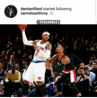 Fam, Memes, and Nba: damianlillard started following  carmeloanthony. 2h  @PER SOURCES The missing piece? 🤔 Damian is a baller fam. With a healthy squad and another year of chemical, Dolla Dame and the Trail Blazers are going to be a problem... Adding another piece would not hurt thouhh.. NBA DamianLillard CarmeloAnthony PortlandTrailBlazers RipCity Lillard