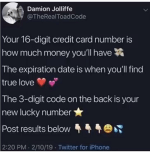Got a couple of good ones to post: Damion Jolliffe  @TheRealToadCode  Your 16-digit credit card number is  much money you'll have  how  The  expiration date is when you'll find  true love  The  3-digit code on the back is your  new lucky number  Post results below  2:20 PM 2/10/19 Twitter for iPhone Got a couple of good ones to post