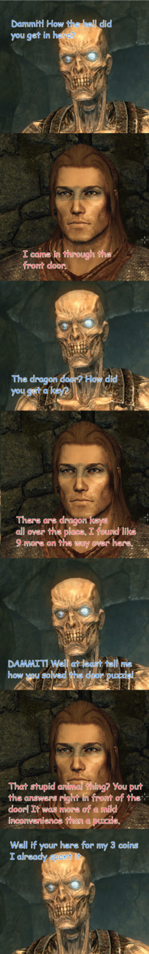 Skyrim Security: Dammit! How  you get in  did  I came  front door.  The dragon door? How did  you  There are dragon  all over the place. I found like  9 more on the way  over here,  DAAAAA!  DAMMIT! Well at leest tell me  how you  That stupid animal hing? You put  the answers right in front of the+  doorl It was more of a mild  inconvenience than a puzzle  Well if your here for my 3 coins Skyrim Security