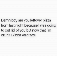 damn: Damn boy are you leftover pizza  from last night because I was going  to get rid of you but now that I'm  drunk kinda want you