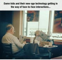 Kids, Technology, and New Age: Damn kids and their new-age technology getting in  the way of face-to-face interactions... <p>Kids And Their New Technology.</p>