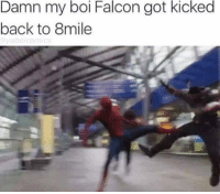 CLARENCE: Damn my boi Falcon got kicked  back to 8mile  abo comics CLARENCE
