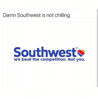 Funny, Southwest, and Damned: Damn Southwest is not chilling  Southwest  We beat the competition. Not you. Nochill😂😂😂