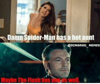 Batman, Joker, and Memes: Damn Spider-Man has a hot aunt  DCMARVEL MEMES  Maybe The Flash íasone's well. Dunno. 😐😐 | Guys go follow @dcmarvel_memes! Batman Superman WonderWoman TheFlash GreenLantern Aquaman Cyborg JusticeLeague DCEU CaptainAmerica IronMan Spiderman Wolverine Deadpool BlackPanther Avengers MarvelCinematicUniverse SuicideSquad Joker HarleyQuinn Deathstroke Deadshot Nightwing RedHood