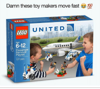 Anaconda, Funny, and Lego: Damn these toy makers move fast  100  UNITED  LEGO  6-12  UNITED  Passenger  Removal  Playset  127 pcs Game, set, match for this meme (@adam.the.creator)