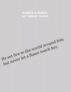 diaries: DAMON &ELENA  THE VAMPIRE DIARIES  He set fire to the world around him  but never let a flame touch her
