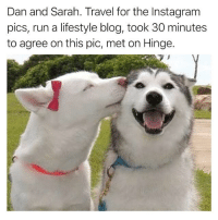 Instagram, Run, and Blog: Dan and Sarah. Travel for the Instagram  pics, run a lifestyle blog, took 30 minutes  to agree on this pic, met on Hinge. kinda hate them kinda want to be them @hinge