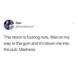Fucking, Gym, and Memes: Dan  @DanMartin7  This storm is fucking nuts. Was on my  way to the gym and it's blown me into  the pub. Madness Dammit Gareth 😂