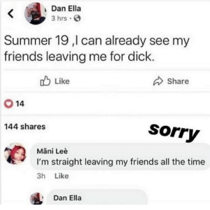 : Dan Ella  3 hrs  Summer 19 ,l can already see my  friends leaving me for dick  ob Like  Share  14  144 shares  Sorry  Mani Leè  tI'm straight leaving my friends all the time  3h Like  Dan Ella