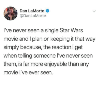 Star Wars, Movie, and Star: Dan LaMorte  @DanLaMorte  I've never seen a single Star Wars  movie and I plan on keeping it that way  simply because, the reaction I get  when telling someone I've never seen  them, is far more enjoyable than any  movie l've ever seen.
