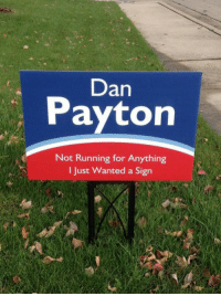 Not Running: Dan  Payton  Not Running for Anything  I Just Wanted a Sign