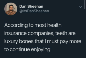 Bones, Health Insurance, and According: Dan Sheehan  @ltsDanSheehan  According to most health  insurance companies, teeth are  luxury bones that I must pay more  to continue enjoying DLC required