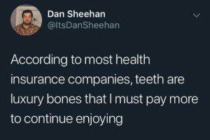insurance: Dan Sheehan  @ltsDanSheehan  According to most health  insurance companies, teeth are  luxury bones that I must pay more  to continue enjoying
