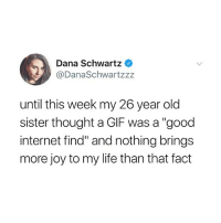 "Funny, Gif, and Internet: Dana Schwartz  @DanaSchwartzzz  until this week my 26 year old  sister thought a GIF was a ""good  internet find"" and nothing brings  more joy to my life than that fact It's actually pronounced ""jood internet find"""