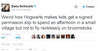 Broomstick, Memes, and 🤖: Dana Schwartz  Follow  Dana Schwartzzz  Weird how Hogwarts makes kids get a signed  permission slip to spend an afternoon in a small  village but not to fly recklessly on broomsticks  RETWEETS  LIKES  61  450  8:06 AM 1 Dec 2016 ~Dobby