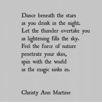 Overtake: Dance beneath the stars  as you drink in the night.  Let the thunder overtake you  as lightening fills the sky.  Feel the force of nature  penetrate your skin,  spin with the world  as the magic sinks in  Christy Ann Martine