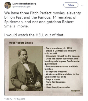 Top 10 Most Powerful Anime Characters: Dane Rauschenberg  @SeeDaneRunAgain  Follow  We have three Pitch Perfect movies, eleventy  billion Fast and the Furious, 14 remakes of  Spiderman, and not one gotdann Robert  Smalls movie.  I would watch the HELL out of that.  Meet Robert Smalls  - Born into slavery in 1839  - Steals a Confederate military  ship in 1861  - Disguises himself as the captain  - Uses the secret code book and  hand signals to pass Confederate  guard ships  -Rescues more slaves and their  families  - Escapes to freedom  - Works as military advisor to the  Union until war ends  - Buys a house  - Runs for Congress  - Wins  Lives happily ever after  PRUCE FENTON  11:15 PM- 17 Aug 2018 Top 10 Most Powerful Anime Characters
