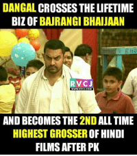 Memes, Lifetime, and 🤖: DANGAL CROSSES THE LIFETIME  BIZOFBAJRANGI BHA JAAN  RVC J  WWW. RVCU COM  AND BECOMES THE 2ND ALLTIME  HIGHEST GROSSEROF HINDI  FILMS AFTER PK Dangal Movie rvcjinsta