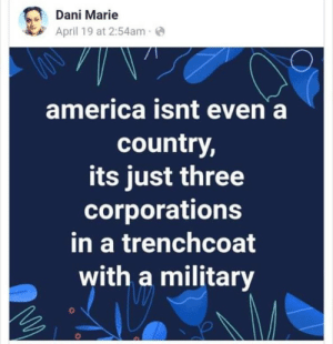 America, Omg, and Tumblr: Dani Marie  April 19 at 2:54ame  america isnt even a  country,  its just three  corporations  in a trenchcoat  with a military what-even-john-adams:  jkbjhvgcxfdgzsfRAwtsydrutyfiglihj omg