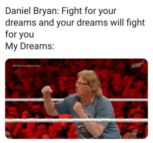 Me irl: Daniel Bryan: Fight for your  dreams and your dreams will fight  for you  My Dreams:  # FallsCountryw here  LIVE Me irl