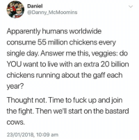 Apparently, Fuck, and Live: Daniel  @Danny_McMoomins  Apparently humans worldwide  consume 55 million chickens every  single day. Answer me this, veggies: do  YOU want to live with an extra 20 billion  chickens running about the gaff each  year?  Thought not. Time to fuck up and join  the fight. Then we'll start on the bastard  COWS  23/01/2018, 10:09 am Do NOT follow @madeinpoortaste if you are easily offended 😂😂