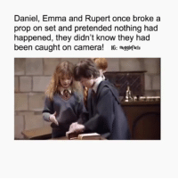 Friends, Love, and Memes: Daniel, Emma and Rupert once broke a  prop on set and pretended nothing had  happened, they didn't know they had  been caught on camera! IG: megglefdls Omg! 😂🤣 QOTD: Have you ever broken something at your house, and lied to your mom about it? Honestly, I've done it plenty of times, like accidentally breaking a plate and then blame it on the cat. 🙀😜 What about you? Comment below. 👇🏼 ... Credits: @-mugglefacts Follow us 👉(@harrypotterfacts)!👈 🙌🙏 Tag someone who would love this! 😍 Don't forget to follow us on (@harrypotteredits) for more posts like this! 😱 Tag your friends below!👇👇 ©HarryPotterFacts HarryPotterFacts ⚠No ©Copyright Infringement Intended, All rights to J.K. Rowling and Warner Bros. ®
