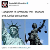 Doe, Love, and Memes: Daniel Kibblesmith  @kibblesmith  Good time to remember that Freedom  and Justice are women.  1/20/17, 11:58 AM from Manhattan, NY Saw this while scrolling through tumblr and just had to post it!! It's now my favourite thing ever. A couple comments got cut off because of the way I had to format it and they were 'LOVE TRIANGLE' after slide 2 and 'Re-blogging for dat art doe' at the very end. Also I included he names of who posted the picture of Truth and the art at the end in the corner of the actual photo! Stay Safe Everyone and don't forget to boycottseaworld ~ Ria 🔮
