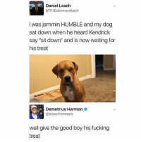 "Fucking, Tumblr, and Good: Daniel Leach  @THEdanman leach  I was jammin HUMBLE and my dog  sat down when he heard Kendrick  say ""sit down"" and is now waiting for  his treat  Demetrius Harmon  o  @meechonmars  well give the good boy his fucking  treat today has been ______"