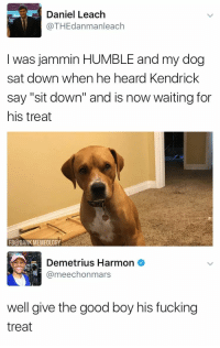 "Blackpeopletwitter, Crazy, and Dank: Daniel Leach  @THEdanmanleach  I was jammin HUMBLE and my dog  sat down when he heard Kendrick  say ""sit down"" and is now waiting for  his treat  FB@DANK MEMEOLOGY  Demetrius Harmon  @meechonmars  well give the good boy his fucking  treat <p>This shit too crazy, ayy, you do not amaze me, ayy (via /r/BlackPeopleTwitter)</p>"