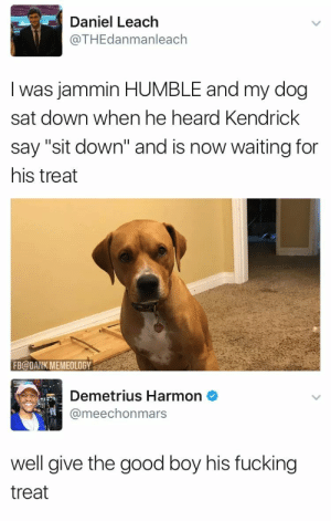 "Dank, Fucking, and Good: Daniel Leach  @THEdanmanleach  I was jammin HUMBLE and my dog  sat down when he heard Kendrick  say ""sit down"" and is now waiting for  his treat  FB@DANK MEMEOLOGY  Demetrius Harmon  @meechonmars  well give the good boy his fucking  treat"