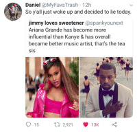 Ariana Grande, Kanye, and Music: Daniel @MyFavs Trash 12h  So y'all just woke up and decided to lie today.  jimmy loves sweetener @spankyounext  Ariana Grande has become more  influential than Kanye & has overall  became better music artist, that's the tea  15  2,921  13K Stan Twitter was a mistake 😒