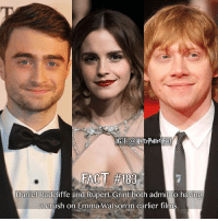 If Emma Watson was your first crush, tell us how you first encountered of her in the comments😍 - - We will be reading them!: Daniel Radcliffe and Rupert Grint both admit to having  a crush on Emma Watson in earlier films If Emma Watson was your first crush, tell us how you first encountered of her in the comments😍 - - We will be reading them!