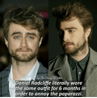 What do you think of Daniel's idea? 💗 Comment '😍' if you knew this fact and '😮' if you didn't. • Potterheads⚡count: 93,268: Daniel Radcliffe literally wore  the same outfit for 6 months in  order to annoy the paparazzi. What do you think of Daniel's idea? 💗 Comment '😍' if you knew this fact and '😮' if you didn't. • Potterheads⚡count: 93,268