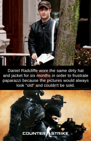"""The absolute madlad: Daniel Radcliffe wore the same dirty hat  and jacket for six months in order to frustrate  paparazzi because the pictures would always  look """"old"""" and couldn't be sold.  fb.com/factsweird  COUNTERASTRIKE The absolute madlad"""