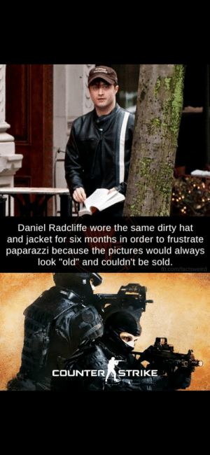 """Big brain strats: Daniel Radcliffe wore the same dirty hat  and jacket for six months in order to frustrate  paparazzi because the pictures would always  look """"old"""" and couldn't be sold.  fb.com/factsweird  COUNTER  STRIKE Big brain strats"""
