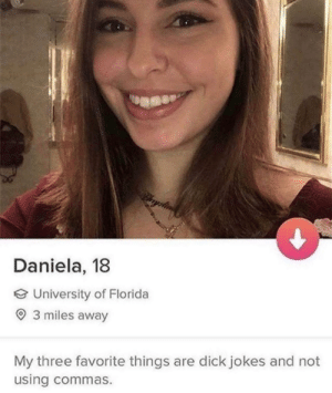 Dank, Memes, and Target: Daniela, 18  University of Florida  3 miles away  My three favorite things are dick jokes and not  using commas. meirl by dxstny MORE MEMES