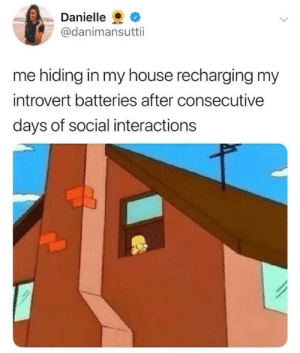 Introvert, My House, and Girl: Danielle  @danimansuttii  me hiding in my house recharging my  introvert batteries after consecutive  days of social interactions Same here girl (credit & consent Danielle Mansutti)